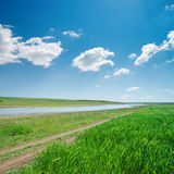 Landscape with river and deep blue sky Royalty Free Stock Photography