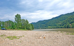 Landscape of river Drina, Serbia. Pictorial landscape of river Drina and sandy coast. Drina river is the border between Serbia and Bosnia and Herzegovina stock image