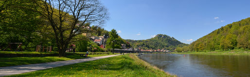 Landscape on the River Elbe, Germany, old city Koenigstein Royalty Free Stock Photography