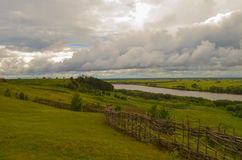 Landscape river forest field Royalty Free Stock Photography