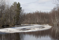 Landscape   river  with  ice in the early spring. Royalty Free Stock Photos