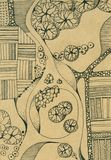 Landscape with river, island, trees, roads and fields. Top view. Hand drawn ink illustration Stock Images