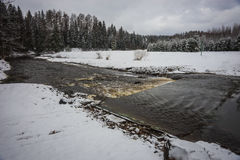 Landscape with a river and its banks covered with fluffy snow Royalty Free Stock Images
