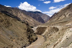 Landscape of River Jingsha  in China. River Jingsha(means golden sand)lies in the border of Tibet and Sichuan Province  in China.The water of the river is Stock Photography