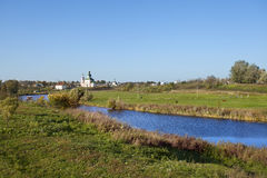 Landscape with river Kamenka and church. Russia Royalty Free Stock Images