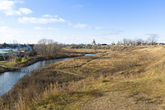Landscape with  river Kamenka in Suzdal, Russia. Golden Ring of  a Travel Royalty Free Stock Photo
