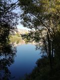Landscape of river. With trees in a sunny day stock photos