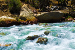 Landscape of a river. Long exposure river with saturated colors stock image
