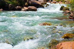 Landscape of a river. Long exposure river with saturated colors royalty free stock images