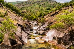 Landscape of Los Pilones in Valle del Jerte in Caceres in Spain. Landscape of a river at Los Pilones in Valle del Jerte in Caceres in Spain royalty free stock images