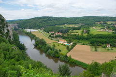 Landscape with river the Lot in France Stock Images