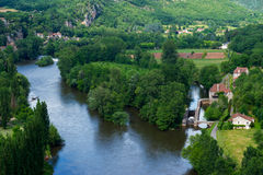 Landscape with river the Lot in France stock image