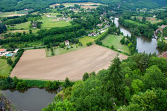 Landscape with river the Lot in France stock photos