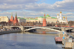 Landscape on river Moscow and Kremlin Stock Photo