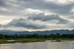 Landscape of river and mountain. In rural of Thailand stock photo