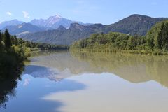 Landscape with river and mountain in Salzburg, Austria. Royalty Free Stock Photos
