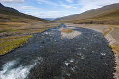 Landscape with river and mountains, Iceland Royalty Free Stock Images