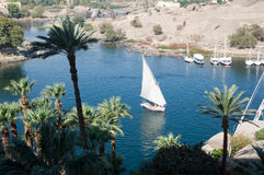 Landscape of River Nile at Aswan Stock Image