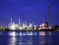 Landscape of river and oil refinery factory Royalty Free Stock Image