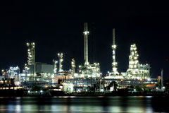 Landscape of river and oil refinery factory Royalty Free Stock Photography