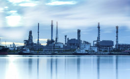 Landscape of river and oil refinery factory Royalty Free Stock Photos