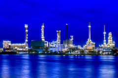 Landscape of river and oil refinery factory Stock Photography