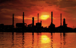 Landscape of river and oil refinery factory Stock Photo