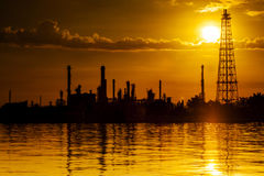 Landscape of river and oil refinery factory Royalty Free Stock Images