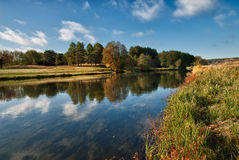 Landscape of the river with reflections Stock Photos