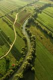 Landscape with a river and road. View from a hot air balloon at Barje, near Ljubljana, Slovenija stock image
