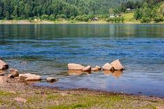 Landscape river, stones, wood, rocks Stock Photography