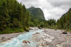 Landscape with river stream. Bavaria, Germany Stock Photos