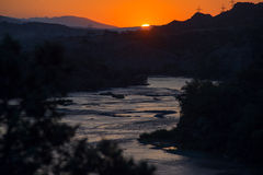 Landscape of the river at sunset. Georgia Stock Image