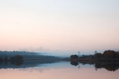 Landscape with river at sunset Royalty Free Stock Photos