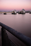 Landscape of River Thames Flood Barrier in London stock photography