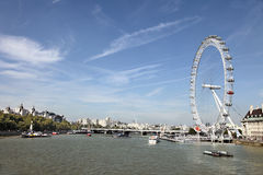 Landscape of River Thames with London Eye Stock Image