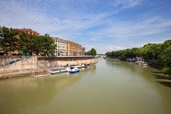 Landscape with river Tiber Royalty Free Stock Photography