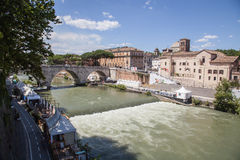 Landscape with river Tiber Stock Images
