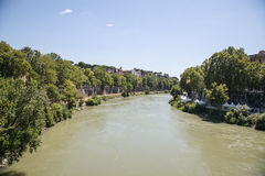 Landscape with river Tiber Stock Image