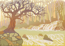 Landscape with river and trees. Landscape with mountain river and thick tree. View of the canyon with waterfall and stones royalty free illustration