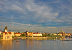 Landscape of the river Vlatava in the Golden Prague Royalty Free Stock Photos
