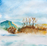 Landscape and river watercolor. Peaceful landscape and river watercolor Stock Photo
