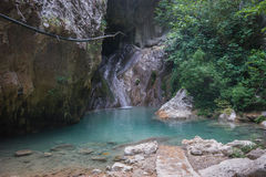 Landscape with river and waterfalls on the island of Lefkada, Gr royalty free stock photos