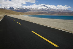 Landscape with a road. Beautiful landscape in tibet, china Royalty Free Stock Photography