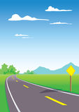 Landscape with road. Country roads with yellow sign Vector Illustration