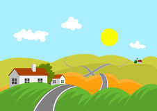 Landscape with road. Summer mountainous landscape with road and intersection Stock Image