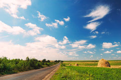 Landscape with road. Sky and clouds royalty free stock image