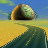 Landscape with road and alien celestial body approaching the Earth Stock Image