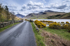 Landscape of road alongside Wast Water in Lake District in Engla Stock Photos