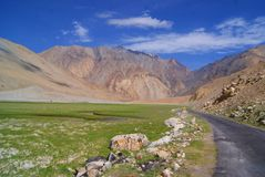 Landscape. Road asia leh dry mountains nature sky valley ladakh royalty free stock images